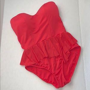 Badgley mischka strapless peplum swimwear sz 6
